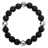 Lava Bead and Steel BLACK RIVER Bracelet for Men Top View