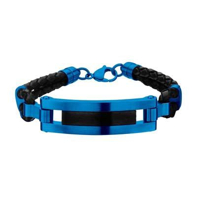 Fresco Blue IP Steel Black Leather Modern Mens ID Bracelet