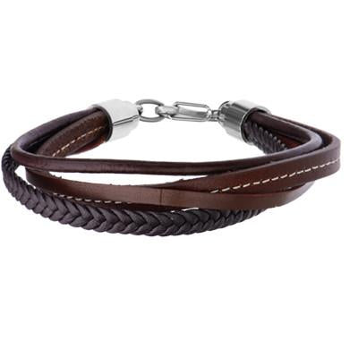 4 Way Brown Four Cord Multi Style Leather Mens Bracelet