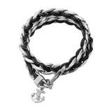 Ships Anchor Steel and Leather Mens Double Wrap Bracelet