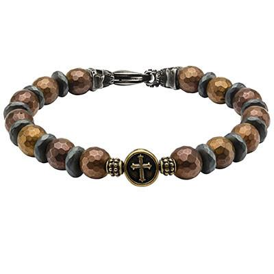 Rustic Cross Cappuccino Steel Black Skull Mens Bead Bracelet