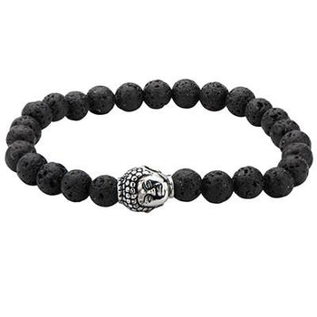 Steel Buddha Head Black Lava Stone Mens Prayer Bead Bracelet