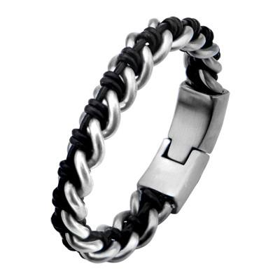 Steel and Leather Cord NIXON Heavy Duty Bracelet for Men