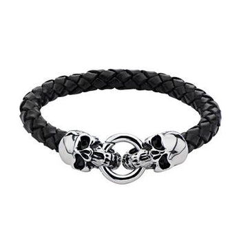 Leather Mens Bracelet DEVIL'S POISON with Steel Skulls