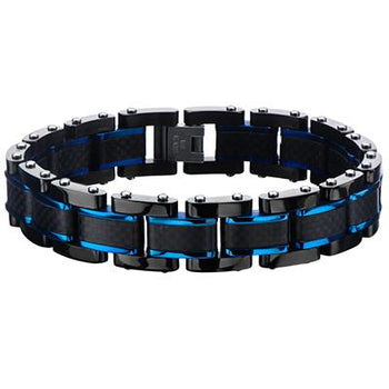 BLUE STRIPE Carbon Fiber Black Stainless Steel Mens Bracelet