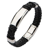 Elemental Black Braided Leather and Steel Mens Bracelet