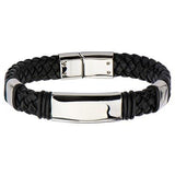 Elemental Black Braided Leather and Steel Mens Bracelet Alt View
