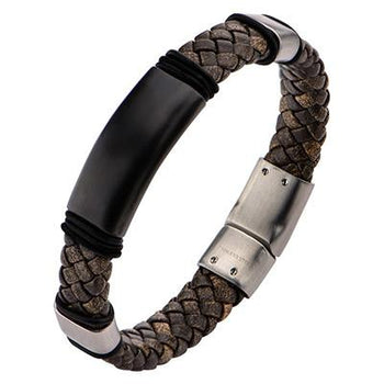 Elemental Dual Tone Brown Mens Braided Leather Bracelet