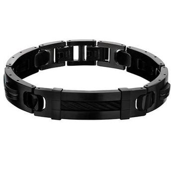 Black Rain All Black Stainless Steel Mens Bracelet