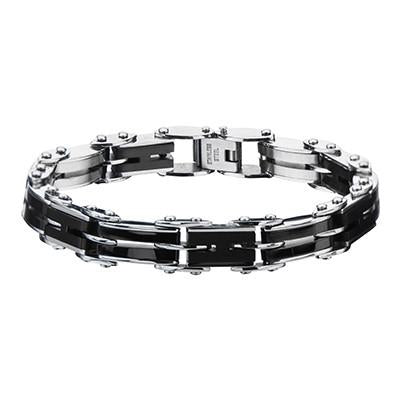 Reversible Bracelet for Men DOUBLE DOWN Black and Steel