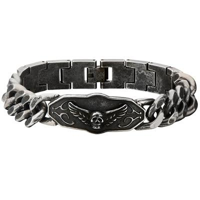 Angel Winged Skull Steel Curb Link Mens Bracelet
