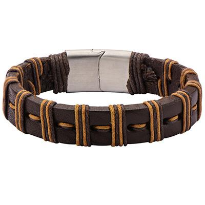 Brown Striped Wrapped Two Tone Mens Brown Leather Bracelet