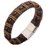 Brown Striped Wrapped Two Tone Mens Brown Leather Bracelet Alt View