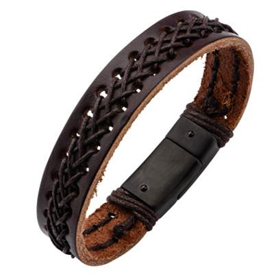 Brown Leather Mens Bracelet ALHAMBRA with Leather Cord