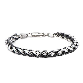 Internecto Black Bright Woven Steel Wheat Chain Bracelet