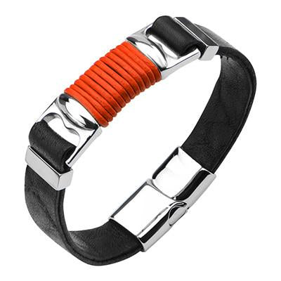 Black Leather Mens Bracelet RED ALERT with Red Leather Cord