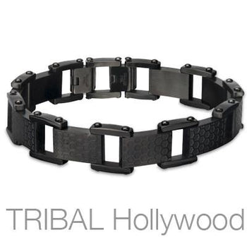 Men's Hoeycomb Bracelet in Black Steel
