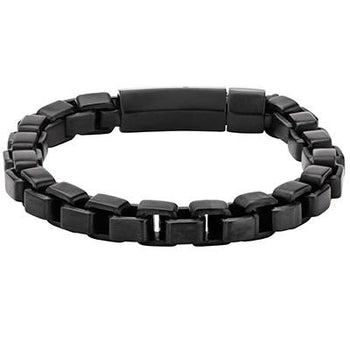 Four Squared Box Link Black Steel Square Mens Bracelet