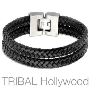 Woven Black Leather Double Layer Mens Bracelet THE WHIP