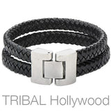 Woven Black Leather Double Layer Mens Bracelet THE WHIP Reverse View