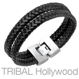 Woven Black Leather Double Layer Mens Bracelet THE WHIP Side View