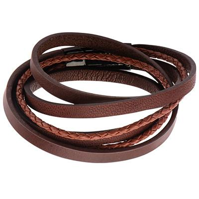 Its A Wrap Textured Cords Multi-Wrap Brown Leather Bracelet