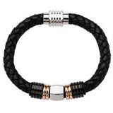 Sweet and Sour Mens Leather Bracelet Rose Gold Steel Beads 1