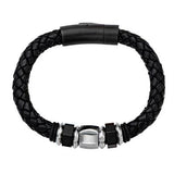 Nightlife Mens Leather Bracelet with Hexagonal Steel Bead 1