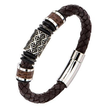 Fleur De Lis Bead THE SAINT BRACELET in Brown Leather