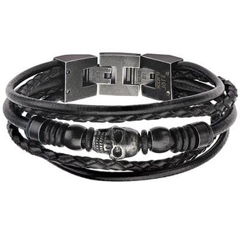 Blackened Steel Skull Mens Black 5 Cord Leather Bracelet