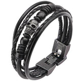 Blackened Steel Skull Mens Black 5 Cord Leather Bracelet Alt View