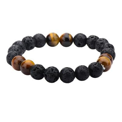 Molten Tiger Black Lava and Tigers Eye Mens Bead Bracelet