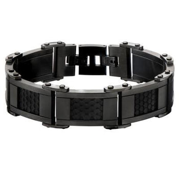 Bracelet for Men HONEYCOMB GUNMETAL and Black Steel