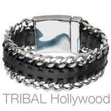 Mens Bracelet CUBAN BLACK Leather and Steel Curb Link Thick Bracelet