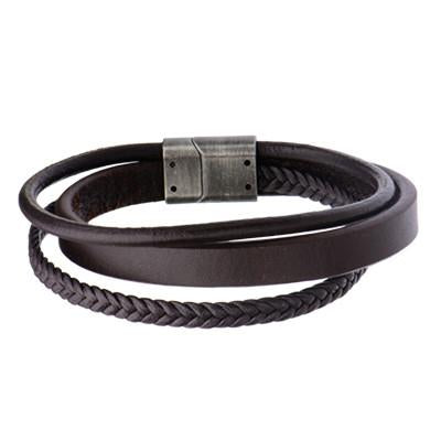 Triple Play Brown 3 Cord Multi-Design Mens Leather Bracelet