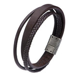 Triple Play Brown 3 Cord Multi-Design Mens Leather Bracelet Alt View