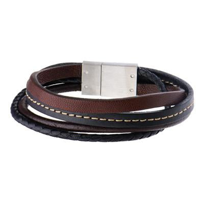 Quad Brown Black 4 Cord Multi-Style Leather Mens Bracelet