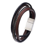Quad Brown Black 4 Cord Multi-Style Leather Mens Bracelet Alt View