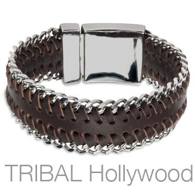 CUBAN BROWN Bracelet for Men Stitched Leather and Steel Curb Link