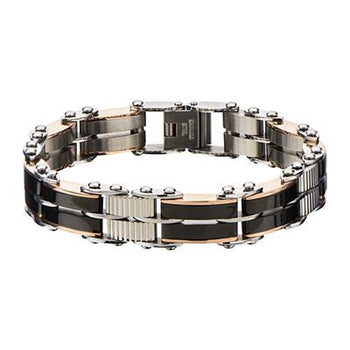 Two-Sided Bracelet THE DOUBLE TEAM Black and Rose Gold Steel