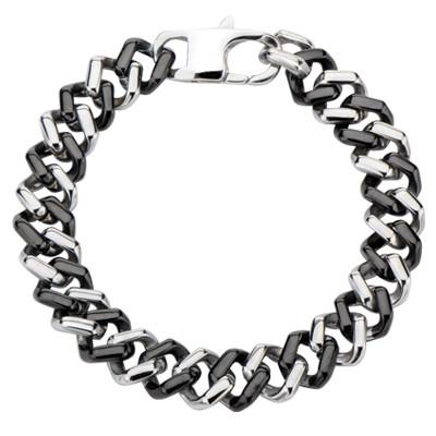 Mens Black and Steel Bracelet BLACKJACK Steel Curb Link