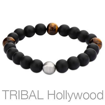 Mens Bead Bracelet TIGER PAW Black Onyx and Tigers Eye