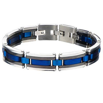 Arctic Blue, Black and Natural Steel Modern Mens Bracelet