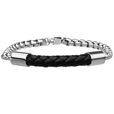 Double Rolo Round Link Steel Chain Mens Leather Bracelet