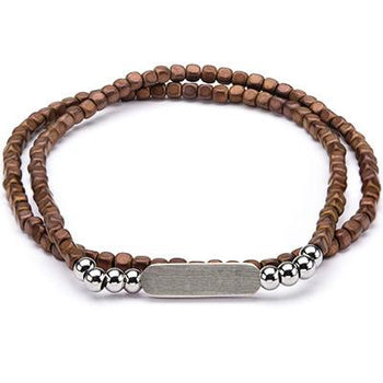Brown Hematite Double Wrap Mens Square Bead Bracelet