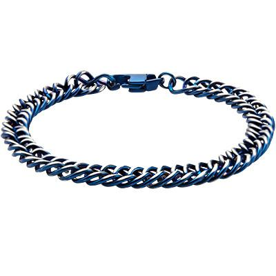 Steely Blue Stainless Steel Modern Mens Curb Chain Bracelet