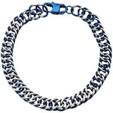 Steely Blue Stainless Steel Modern Mens Curb Chain Bracelet Top View