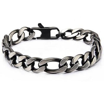 Dusk Natural and Black Steel Mens Figaro Link Bracelet