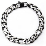 Dusk Natural and Black Steel Mens Figaro Link Bracelet Top View