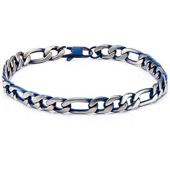 Blue Tint Natural and Blue Steel Mens Figaro Link Bracelet